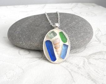 Nautical - Sea Shells and Sea Glass Mosaic Oval Pendant - Jewelry Necklace