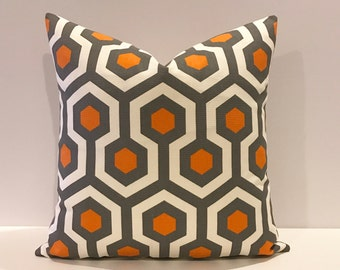 CLEARANCESALE Orange, gray and white geometric decorative pillow cover