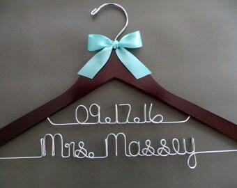 RUSH ORDER Wedding Dress Hanger, Two Line Bridal Hanger, Name Date Hanger, Personalized Bride Hanger, Shower Gift, Engagement Gift