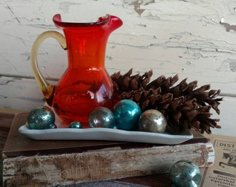 Ruby Red Hand Blown Glass Vase - Vintage Flower Vase or Urn + A Great Gift For Art Glass Collector, Retro Red Art Glass Pitcher Vintage Gift