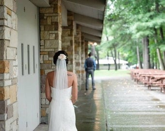 CHAPEL custom length Wedding Veil, White wedding veil, ivory wedding veil, chapel veil, Single  layered.