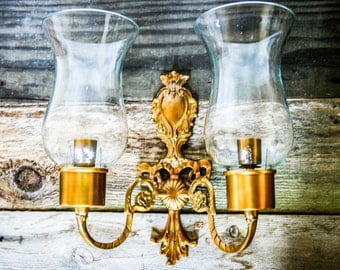 Ornate, Wall Sconce, Double Arm, Hurricane Glass,  Brass, Vintage, Wall Decor, Candleabra