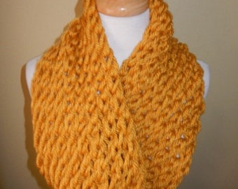Womens Scarf Hand Knitted Scarf Cowl Winter Fashion Accessories Women Infinity Scarf Chunky Scarf in Yellow Mustard  - Choose color