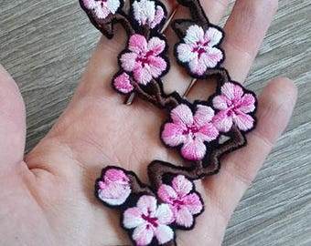 Cherry Blossom branch ~ Embroidered Iron-on patch