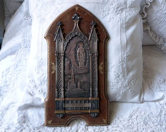 Antique French religious frame silver icon relic shrine w Holy Virgin Mary our lady of Lourdes souvenir Holy Mother, leather on wooden frame