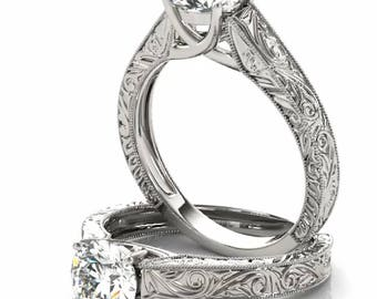 14K Gold Hand Engraved Solitaire Diamond Engagement Ring Setting Semi-Mount
