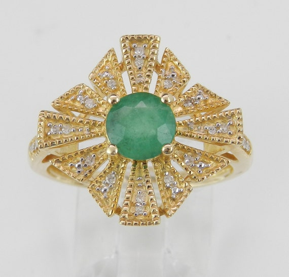 Emerald and Diamond Engagement Ring Halo Princess Ring 14K Yellow Gold Size 7