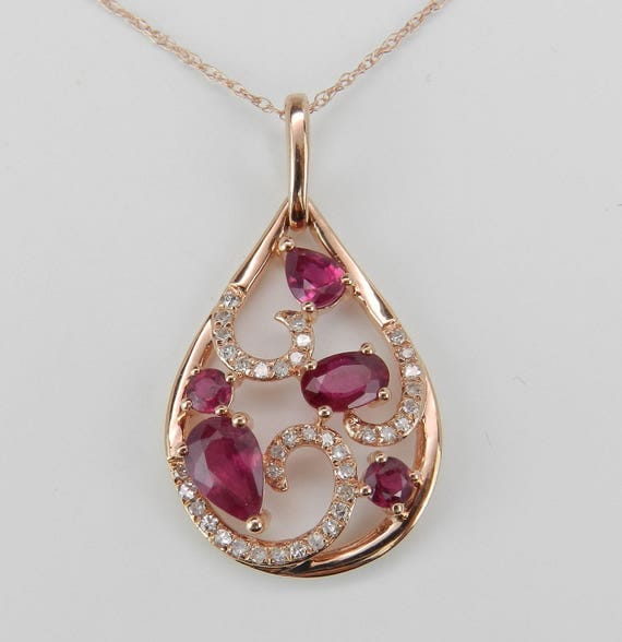 "Ruby and Diamond Cluster Pendant Wedding Necklace 14K Rose Gold 18"" Chain July Birthstone"
