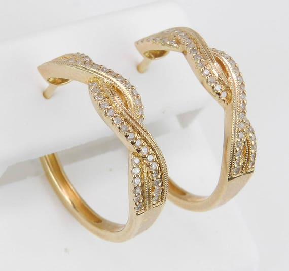 Diamond Hoop Earrings Diamond Hoops Huggies set in Yellow Gold