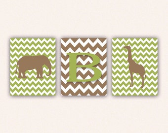 Chevron Elephant Monogram and Giraffe Print Set - Bright Green and Tan Wall Art - Zoo or Jungle Nursery Art (5005)