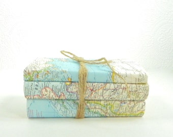 Old Book Decor, Decorative Books with Vintage Maps Book Covers, Set of 3