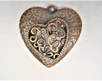 30mm*30mm*5mm. 5CT. Copper Toned Heart Charms, Y50