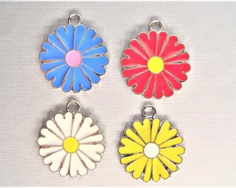 29mm. 5CT. Enamel Flower Charms, Mixed Colors Y55