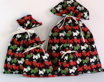 Set of 4 Holiday Reusable Fabric Gift Bags (XS, S, M, L Sizes) / Jingle Scottie Dogs Black