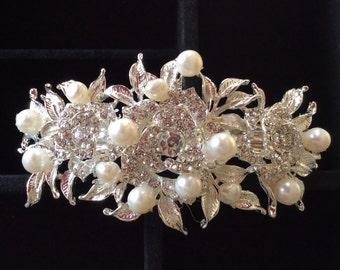 Wedding, Bridal, Swarovski Crystal, Freshwater Pearl, Barrette, Hair Accessories.  Runway Hair Accessory