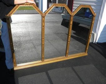 huge 1940s vintage TRIPTYCH WALL HANGING mirror hollywood regency pick up only
