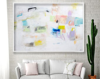 White Wall art Geometric art Abstract PRINT with yellow giclee print Modern painting by Duealberi