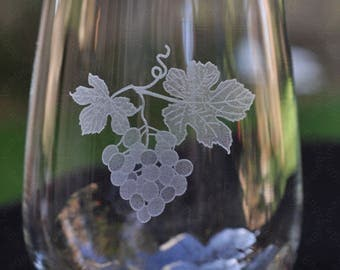 Ivy and Grapes Wine Glass Stemless with 2nd Side Engraving Offered