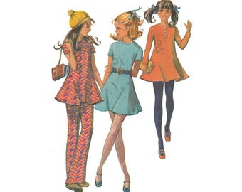 McCalls 2554 Vintage ©1970 Sewing Pattern; Girls' Dress in Three Versions and Bell Bottom Pants Flared Mini or Tunic Size 7 Breast 26