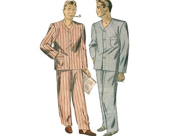 Vintage  1940s Mens Pajama Pattern DuBarry 5903 Collarless Pajamas with Patch Pockets Chest Size 38-40 Wartime Menswear Sewing Pattern