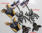 2pairs dragonfly bees Rhinestones beads clothes shoes bag socks appliques patches brooch F41ORSX free ship