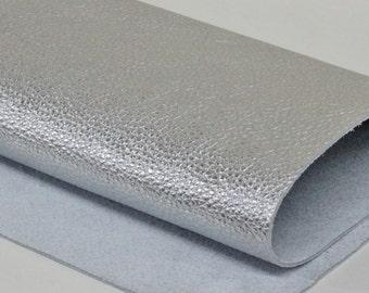 Siver Genuine Leather Metallic Leather  Grain Cowhide