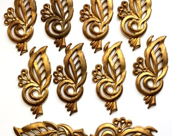 Rare Vintage Filigree Leaves, Leaf Stampings, Stone Sets, Jewelry Making, Vintage Jewelry Supplies, B'sue Boutiques, 29 x 65mm, Item0750