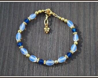 Opalite Bracelet, Swarovski Opalite Bracelet, Sapphire Blue Bracelet, Blue Bead Bracelet, Opalite Jewelry