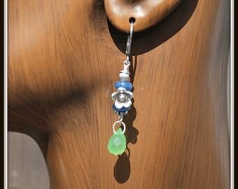 Kyanite Earrings, Green Quartz Earrings, Green Briolette Earrings, Blue and Green Earrings, Flower Charm Earrings