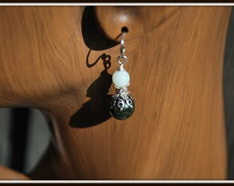 Jade Earrings, Green Jade Earrings, Green and Silver Earrings, Jade and Aquamarine Earrings