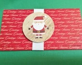 Christmas Money/Gift/Check Card Holder, Red, Season's Greetings, Snowman, Snowflakes, Ribbons, Handmade, White Band, Red Envelope