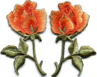 Orange roses  applique iron-on patch 1 pc select right oor left