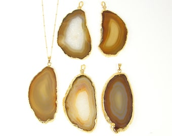 Brown Agate Slice Necklace, Agate Stone Necklace, Amber Geode Necklace, Layering Gold Dipped Jewelry Mineral Long Boho |NC2-15