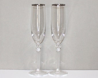 Gorgeous, Set of 2, Vintage, Lenox Innocence, Platinum Fluted Champagne Glasses, Toasting Glasses