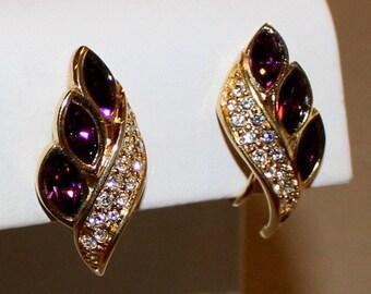 Vintage Amethyst and Clear Rhinestone Earrings