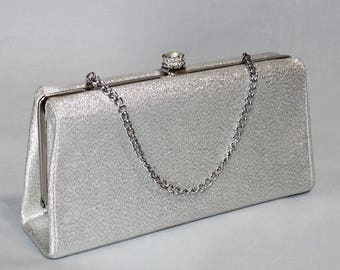 Beautiful, Vintage, Silver Lame Clutch with Chain