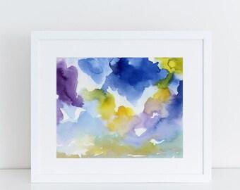 Modern Art, Watercolor Print, Sky, Clouds, Art Print, Abstract Art Print, purple, Landscape art print, contemporary art