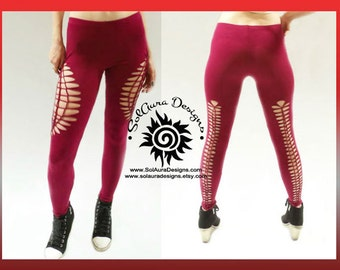 "Womens / Juniors ""LUSCIOUS RED"" Cut Up, Shredded and Weaved Burgundy Leggings, Club Wear, Sexy Wear L-3013"