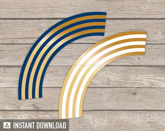 Gold Navy Stripes Cupcake Wrappers - General Theme - Birthday Party - Cupcake Holders - INSTANT DOWNLOAD - Printable PDF