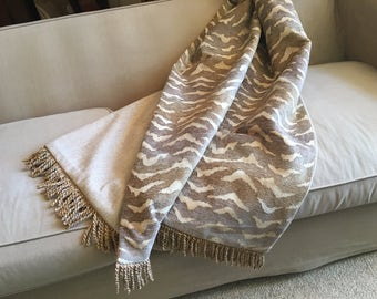 Quiet Jungle Throw Blanket, Beige Tan Neutral Quilt, Designer Chenille Throws, African Animal Print, Hand Made One of a Kind, Lap Cover Rug