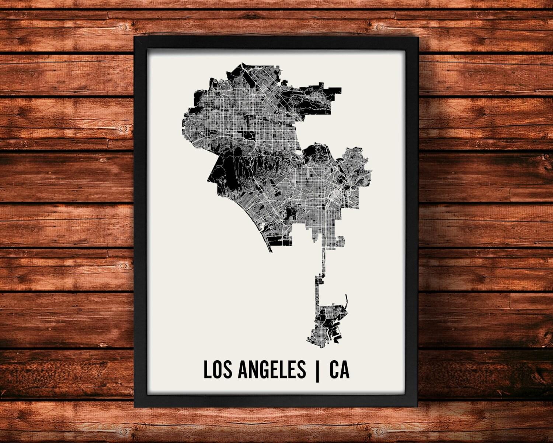 Los Angeles Map Art Print Los Angeles Print Los Angeles - Los angeles poster black and white