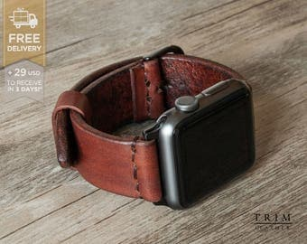 Apple Watch Band Leather Watch Band Minimal Hazel Nut Brown 42mm 38mm Series 1 and 2 [Handmade] [Custom Colors]