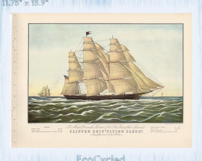 Nautical Americana Currier & Ives Vintage Lithograph Print Clipper Ships Flying Cloud and Nightingale Paper Ephemera Book Page  zyx12-13