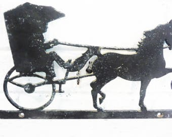 Vintage horse and carriage plaque wall art surry shabby vintage metal silhouette