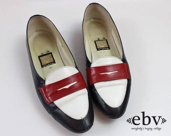 Penny Loafers Navy Loafers White Loafers Red Loafers Preppy Shoes Prep Shoes Americana Shoes American Shoes Leather Flats USA Shoes 8 M