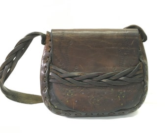 Vtg 70s Tooled Leather Handbag // Floral // Hippie Painted Flower Purse // Distressed Artisan Boho HippyBag