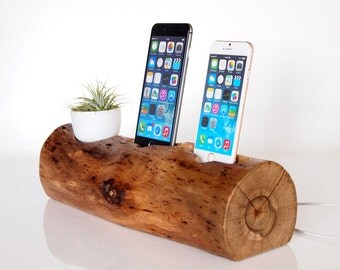 Unique iPhone dual dock - iPhone 7 dock /  iPhone 6 dock / iPhone 5 dock - handmade from walnut wood