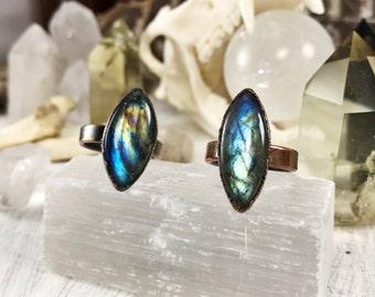 Labradorite marquis ring, gemstone ring, crystal ring, flashy labradorite, stacking ring, copper gemstone ring