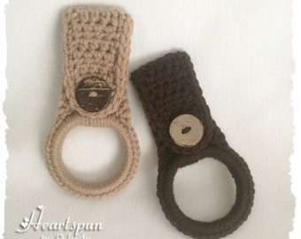 Taupe Tan or Chocolate Brown dish towel or hand towel ring holder with natural coconut shell button.  Choose color on checkout.