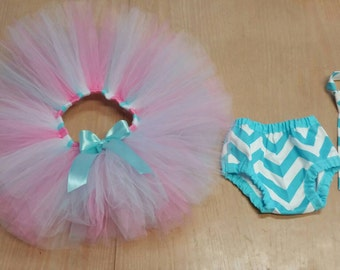 Boy girl twins cake smash outfit, twin boy and girl first birthday outfits, aqua white and pink diaper cover tie and tutu